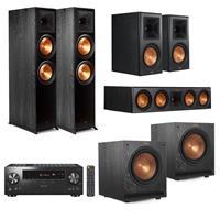 Image of Klipsch Reference Premiere 5.2 Home Theater System - 2x RP-8000F Floorstanding Speaker, 2x SPL-100 Subwoofer, RP-504C Center Channel, 2x RP-600M Bookshelf, Ebony, Pioneer VSX-LX304 Receiver