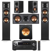 Image of Klipsch Reference 5.1 Home Theater System - 2x R-625FA Floorstanding, R-41M Bookshelf (Pair), R-52C Center Channel Speaker, R-12SW Subwoofer, Black with Pioneer VSX-LX104 A/V Receiver