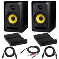 Image of KRK 2 Pack Classic 5 G3 5-Inch Two-Way Studio Monitor Bundle with 2 Pack Isolation Pad, 2 Pack XLR M to XLR F Microphone Cable 15-Foot, Y Splitter Cable 10-Foot