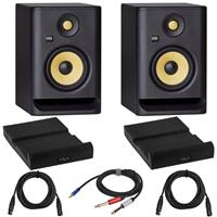 Image of KRK 2 Pack ROKIT 5 G4 5-Inch Powered Studio Monitor, Black Bundle with 2 Pack Isolation Pad, 2 Pack XLR M to XLR F Microphone Cable 15-Foot, Y Splitter Cable 10-Foot