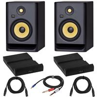 Image of KRK 2 Pack ROKIT 7 G4 7-Inch Powered Studio Monitor, Black Bundle with 2 Pack Isolation Pad, 2 Pack XLR M to XLR F Microphone Cable 15-Foot, Y Splitter Cable 10-Foot