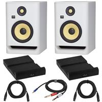 """Image of KRK 2 Pack ROKIT 7 G4 White Noise 7"""" Powered Studio Monitor, Bundle with 2 Pack Isolation Pad, 2 Pack 15-Foot XLR M to XLR F Microphone Cable, Y Splitter Cable 10-Foot"""
