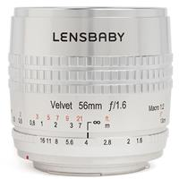 Image of Lensbaby Velvet 56 SE, 56mm f/1.6 Macro Lens for Canon EF - Silver Finish with Engraved Aperture and Focus Markings.