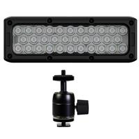 Image of Litepanels Brick Powerful Bicolor On-camera ENG Light with Built-in P-Tap Connector - With Ikan Ultra-Heavy Duty Camera Shoe Mount