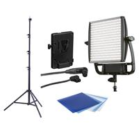 Image of Litepanels Astra 6X Bi-Color Next Generation LED Light Panel - Bundle With Litepanels V-Mount Battery Bracket, Air Cushioned Heavy Duty Light Stand 9.5', Litepanels Opal Frost Diffusion Individual Gel