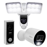 Image of Lorex V261LCD-E 2MP 1080p 2-Way Audio Indoor/Outdoor Wi-Fi Floodlight Camera - With LNWDB1 1080p 2-Way Wi-Fi Video Doorbell Camera, W282CAD-E 2MP 1080p Smart Indoor/Outdoor Wi-Fi Camera