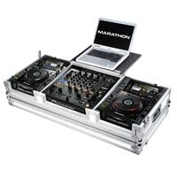 Marathon Flight Road Case with Laptop Shelf for 2x Pioneer CDJ-2000 Large Format CD Players and DJM-900 Nexus Mixer, White