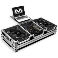 "Marathon Flight Road Coffin Case with Laptop Shelf for 2x Large Format Denon SC3900 CD Players Plus 10"" Mixer"