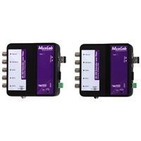 Image of Muxlab 6G-SDI Extender Over Fiber Optic Kit with Return Channel, OM4 Multi-Mode, 1300'/400m