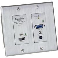 Image of Muxlab UHD-4K HDMI/VGA Over IP PoE Wall Plate Transmitter, White