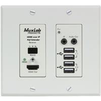 Image of Muxlab UHD-4K HDMI/USB Over IP PoE Wall Plate Receiver, White