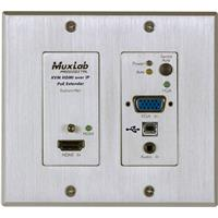 Image of Muxlab UHD-4K HDMI/VGA/USB Over IP PoE Wall Plate Transmitter, Aluminum