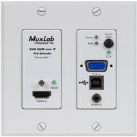 Compare Prices Of  Muxlab UHD-4K HDMI/VGA/USB Over IP PoE Wall Plate DECO Transmitter, White