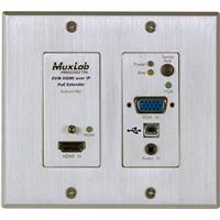 Image of Muxlab UHD-4K HDMI/VGA/USB Over IP PoE Wall Plate Transmitter, White