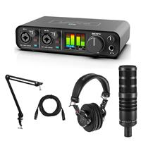 Image of MOTU M2 Desktop 2x2 USB-C Audio Interface Bundle with H&A AC50 Cardioid Dynamic Microphone, Professional Monitor Headphones, Broadcast Arm, XLR M to XLR F Mic Cable 15-Foot