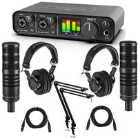 Image of MOTU M2 Desktop 2x2 USB-C Audio Interface Bundle with 2 Pack H&A AC50 Cardioid Dynamic Microphone, 2x Professional Monitor Headphones, 2x Broadcast Arm, 2x XLR M to XLR F Mic Cable 15-Foot