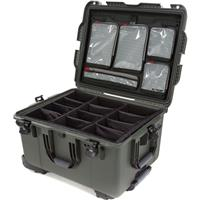 Image of Nanuk Wheeled Series 960 Lightweight NK-7 Resin Waterproof Hard Case with Padded Dividers and Lid Organizer, Olive