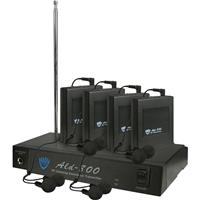 Image of Nady ALD-800 Versatile VHF Wireless Assistive Listening System, Includes Transmitter, DC Adapter, 4 x Receivers and 4 x Earbuds, FF: 75.5MHz