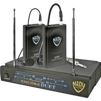 Image of Nady Dual Channel VHF HM-1 Uni Dynamic Headset Wireles System, with Encore Duet Receiver, 2 WLT Headset Transmitters & 2 HM-3 Mic's