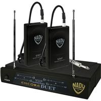 Image of Nady Encore Duet Dual Receiver VHF Wireless Guitar System, Includes Receiver, 2xTransmitters, 2 Antennas, Power Supply, A1/202.100MHz & D/209.150MHz