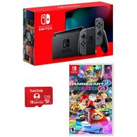 Image of Nintendo 32GB Nintendo Switch with Gray Joy-Con Controllers - Bundle With Mario Kart 8 Deluxe for Nintendo Switch, SanDisk 128GB UHS-I microSDXC Memory Card for the Nintendo Switch