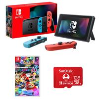 Image of Nintendo 32GB Nintendo Switch with Neon Blue & Neon Red Joy-Con Controllers - Bundle With Mario Kart 8 Deluxe for Nintendo Switch, SanDisk 128GB UHS-I microSDXC Memory Card for the Nintendo Switch