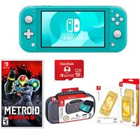Image of Nintendo Switch Lite, Turquoise - With Nintendo Metroid Dread for Nintendo Switch, Nintendo Switch Lite Accessor y Bundle, SanDisk 128GB microSDXC Card