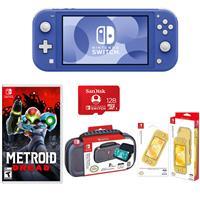 Image of Nintendo Switch Lite, Blue - With Nintendo Metroid Dread for Nintendo Switch, Nintendo Switch Lite Accessor y Bundle, SanDisk 128GB microSDXC Card