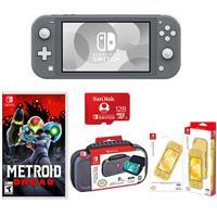 Image of Nintendo Switch Lite, Gray - With Nintendo Metroid Dread for Nintendo Switch, Nintendo Switch Lite Accessory Bundle, SanDisk 128GB microSDXC Card