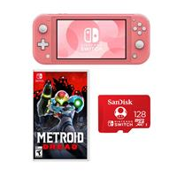Image of Nintendo Switch Lite, Coral - With Nintendo Metroid Dread for Nintendo Switch, Nintendo Switch Lite Accessory Bundle, SanDisk 128GB microSDXC Card