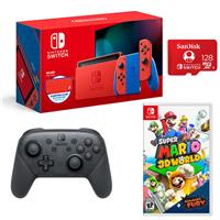 Image of Nintendo Switch - Mario Red & Blue Edition - Bundle With Nintendo Pro Wireless Controller, Switch Super Mario 3D World + Bowser's Fury, 128GB MicroSDXC Card