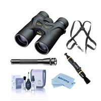 Image of Nikon 10x42 Prostaff 3 Roof Prism Binocular, 7.0 Degree Angle of View, Black, Bundle with Accessory Kit