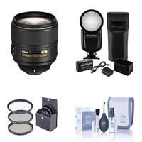 Image of Nikon AF-S NIKKOR 105mm f/1.4E EDIF Telephoto Lens - U.S.A. Warranty - With Flashpoint Zoom Li-on X R2 TTL On-Camera Round Flash Speedlight For Nikon, 82mm Filter Kit, Cleaning Kit
