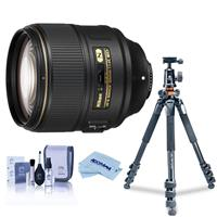 Image of Nikon AF-S NIKKOR 105mm f/1.4E EDIF Telephoto Lens U.S.A. Warranty - Bundle With Vanguard Alta Pro 264TBH Tripod and TBH-100 Head with Arca-Swiss QR Plate, Cleaning Kit, Microfiber Cloth