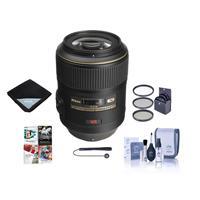 Image of Nikon 105mm f/2.8G ED-IF AF-S VR Micro NIKKOR Lens USA Warranty - Bundle With 62mm Filter Kit, Lens Wrap, Cleaning Kit, Capleash II, PC Software Package