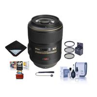 Image of Nikon 105mm f/2.8G ED-IF AF-S VR Micro NIKKOR Lens USA Warranty - Bundle With 62mm Filter Kit, Lens Wrap, Cleaning Kit, Capleash II, Mac Software Package