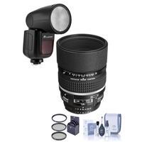 Image of Nikon 105mm f/2 AF-D DC NIKKOR Telephoto Lens - U.S.A. Warranty - Bundle With Flashpoint Zoom Li-on X R2 TTL On-Camera Round Flash Speedlight For Nikon, 72mm Filter Kit, Cleaning Kit
