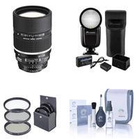 Image of Nikon 135mm f/2 AF-D DC NIKKOR Lens with Hood U.S.A. Warranty - Bundle Flashpoint Zoom Li-on X R2 TTL On-Camera Round Flash Speedlight For Nikon, 72mm Filter Kit, Cleaning Kit