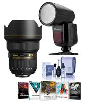 Image of Nikon 14-24mm f/2.8G ED-IF AF-S NIKKOR Lens F/DSLR Cameras - U.S.A. Warranty - Bundle With Flashpoint Zoom Li-on X R2 TTL On-Camera Round Flash Speedlight For Nikon, Cleaning Kit, Software Package