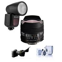 Compare Prices Of  Nikon 16mm f/2.8D ED AF NIKKOR Lens - U.S.A. Warranty - With Flashpoint Zoom Li-on X R2 TTL On-Camera Round Flash Speedlight For Nikon, Flex Lens Shade, Cleaning Kit