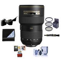 Image of Nikon 16-35mm F/4G AF-S NIKKOR ED VR Vibration Reduction Zoom Lens, Bundle With 77mm Filter Kit, Lens Wrap, Lens Shade, Clean Kit, Cleaner, Mac Software Package