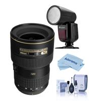 Compare Prices Of  Nikon 16-35mm F/4G AF-S NIKKOR ED VR Vibration Reduction Zoom Lens, Bundle With Flashpoint Zoom Li-on X R2 TTL On-Camera Round Flash Speedlight, Cleaning Kit, Microfiber Cloth
