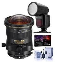 Image of Nikon PC NIKKOR 19mm f/4E ED Perspective Control Lens, U.S.A. Warranty - With Flashpoint Zoom Li-on X R2 TTL On-Camera Round Flash Speedlight For Nikon, Cleaning Kit, Pro Software Package