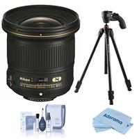 Image of Nikon 20mm f/1.8G AF-S ED NIKKOR Lens - U.S.A. Warranty - With Vanguard Vesta 203AGH 3-Section Aluminum Tripod with GH-45 Pistol Grip Head, Cleaning Kit, Microfiber Cloth