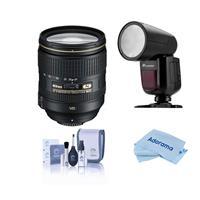 Image of Nikon 24-120mm f/4G ED-IF AF-S NIKKOR VR Vibration Reduction NIKKOR Lens USA Warranty - With Flashpoint Zoom Li-on X R2 TTL On-Camera Round Flash Speedlight For Nikon, Cleaning Kit, microfiber Cloth