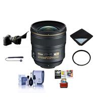 Image of Nikon 24mm f/1.4G AF-S ED NIKKOR Lens Bundle with 77mm Wide Angle UV Filter, Flex Lens Shade, Lens Wrap (15x15), Cleaning Kit, Lens Cleaner, Lens Cap Leash, Mac Software Package