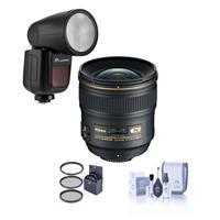 Image of Nikon 24mm f/1.4G AF-S ED NIKKOR Lens - U.S.A. Warranty - Bundle Flashpoint Zoom Li-on X R2 TTL On-Camera Round Flash Speedlight For Nikon, 77mm Filter Kit, Cleaning Kit