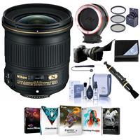 Image of Nikon 24mm f/1.8G AF-S ED NIKKOR Lens - USA Warranty - Bundle with 72mm Filter Kit, Flex Lens Shade, Peak Lens Changing Kit Adapter, Lens Cleaner, Lens Wrap, Cap Leash, Software Package