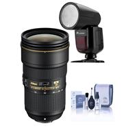 Compare Prices Of  Nikon AF-S NIKKOR 24-70mm f/2.8E ED VR Lens USA Warranty - With Flashpoint Zoom Li-on X R2 TTL Round Flash Speedlight For Nikon, Cleaning Kit