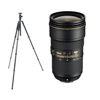 Image of Nikon AF-S NIKKOR 24-70mm f/2.8E ED VR Lens - U.S.A. Warranty - With FotoPro X-Go Max Carbon Fiber Tripod with Built-In Monopod, FPH-62Q Ball Head